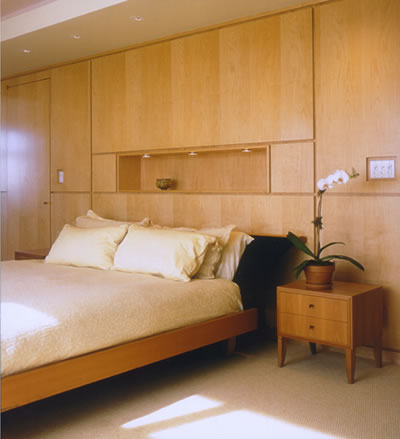 sliced maple bedroom wall and headboard unit octagon house construction designer desai chia architects